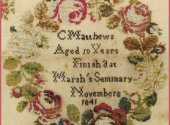 Rose Wreath Sampler C Matthews 1841