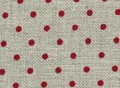 Zweigart 32 Ct Petit Point Natural Red Dots