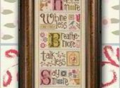Lizzie Kate Whine Less Breathe More Cross Stitch Pattern